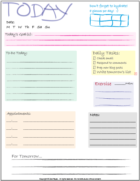 blogging tools daily checklist printable