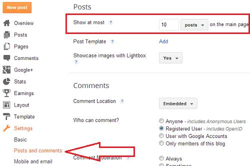 posts on homepage
