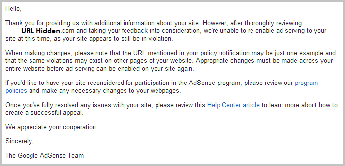 adsense appeal rejection