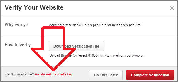 verify website with pinterest