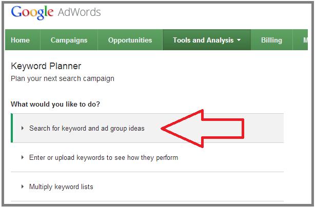Image result for google keyword planner tool