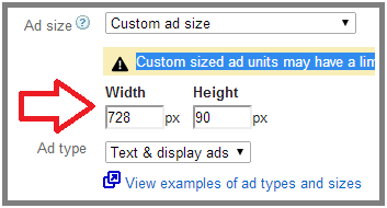custom ad sizes