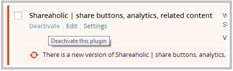 deavtivate shareaholic plugin