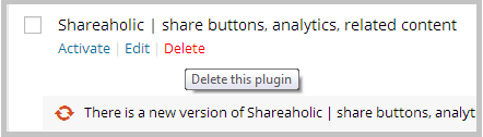 delete shareaholic wordpress plugin